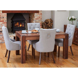 Furnish Our Home:Baumhaus Walnut 150cm Dining Table with 4 x Accent Narrow Back Grey Dining Chairs