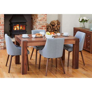 Furnish Our Home:Baumhaus Walnut 150cm Dining Table with 4 x Walnut Grey Chairs