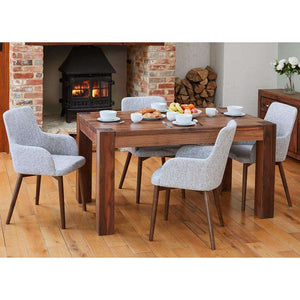 Furnish Our Home:Baumhaus Walnut 150cm Dining Table with 4 x Walnut Light Grey Chairs
