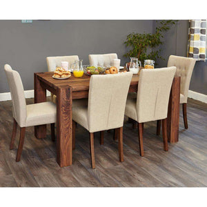 Furnish Our Home:Baumhaus Shiro Walnut Large Dining Table with 6 x Flare Back Biscuit Dining Chairs