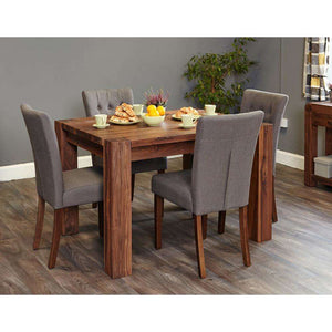 Furnish Our Home:Baumhaus Shiro Walnut Large Dining Table with 6 x Flare Back Dining Chairs - Slate