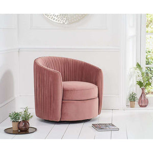 Furnish Our Home:Mark Harris Sarana Blush Velvet Swivel Chair