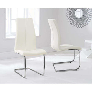 Furnish Our Home:Mark Harris Tonia Hoop Leg Pu Cream Dining Chair (Pair) - (Hooped Carsen)