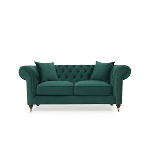 Furnish Our Home:Mark Harris Camara 2 Seater Chesterfield Sofa Green Velvet - Dark Ash Wood Legs