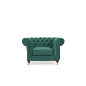 Furnish Our Home:Mark Harris Camara Chesterfield Style Armchair Green Velvet - Dark Ash Wood Legs
