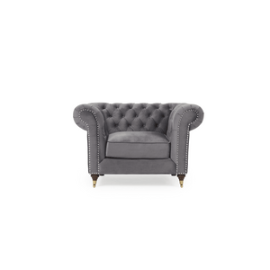 Furnish Our Home:Mark Harris Camara Chesterfield Style Armchair Grey Velvet - Dark Ash Wood Legs