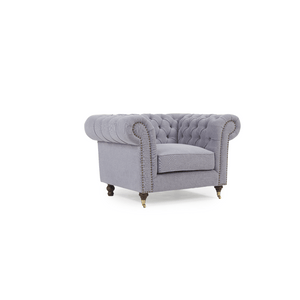 Furnish Our Home:Mark Harris Camara Chesterfield Style Armchair Grey Linen - Dark Ash Wood Legs