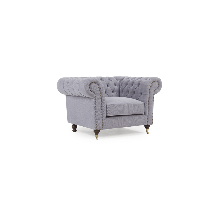 Mark Harris Camara Chesterfield Style Armchair Grey Linen - Dark Ash Wood Legs