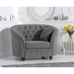 Furnish Our Home:Mark Harris Casey Grey Plush Armchair