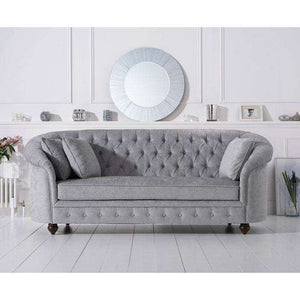 Furnish Our Home:Mark Harris Casey Grey Plush 3 Seater Sofa