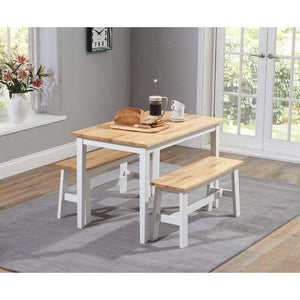 Furnish Our Home:Mark Harris Chichester 115cm Oak And White Dining Set With 2 Benches