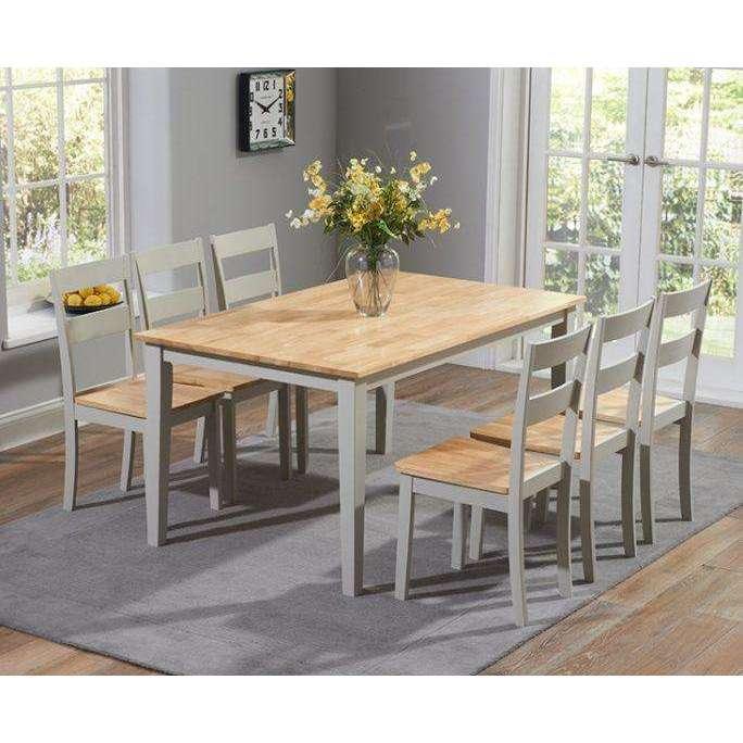 Mark Harris Chichester 150cm Dining Table + 4 Dining Chairs - Oak & Grey