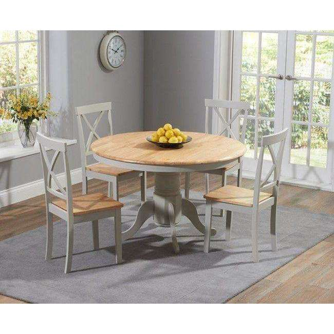 Mark Harris Elstree 120cm Painted Oak & Grey Round Dining Set + 4 Chairs