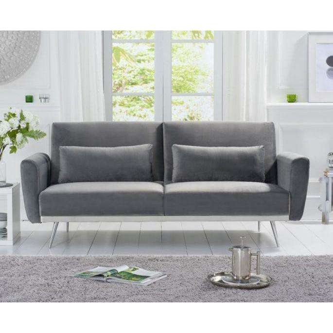 Mark Harris Elsa Grey Velvet Sofa Bed