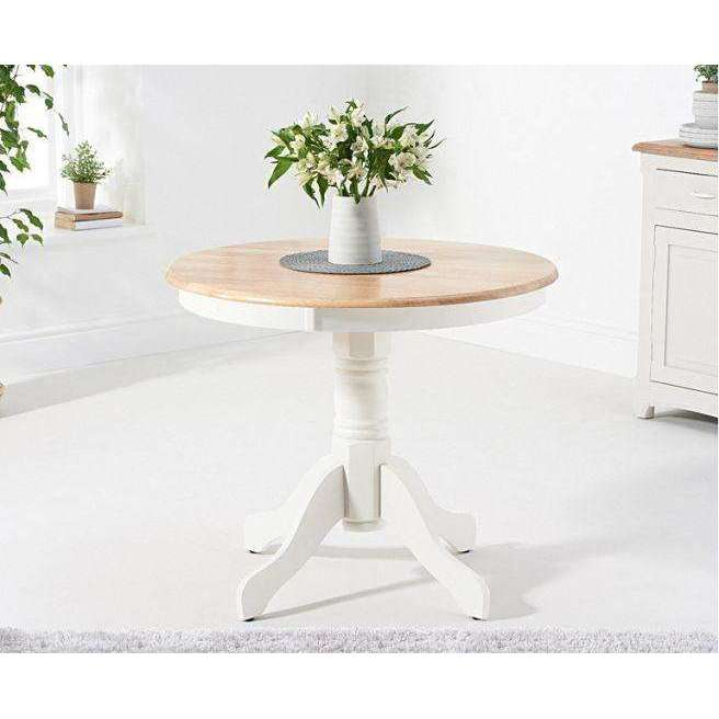 Mark Harris Elstree Solid Hardwood & Painted 90cm Pedestal Dining Table - Oak & White