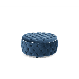 Furnish Our Home:Mark Harris Fiona Blue Velvet Round Footstool
