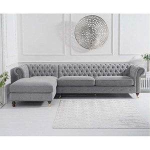 Furnish Our Home:Mark Harris Fiona Grey Linen Left Facing Chaise Sofa