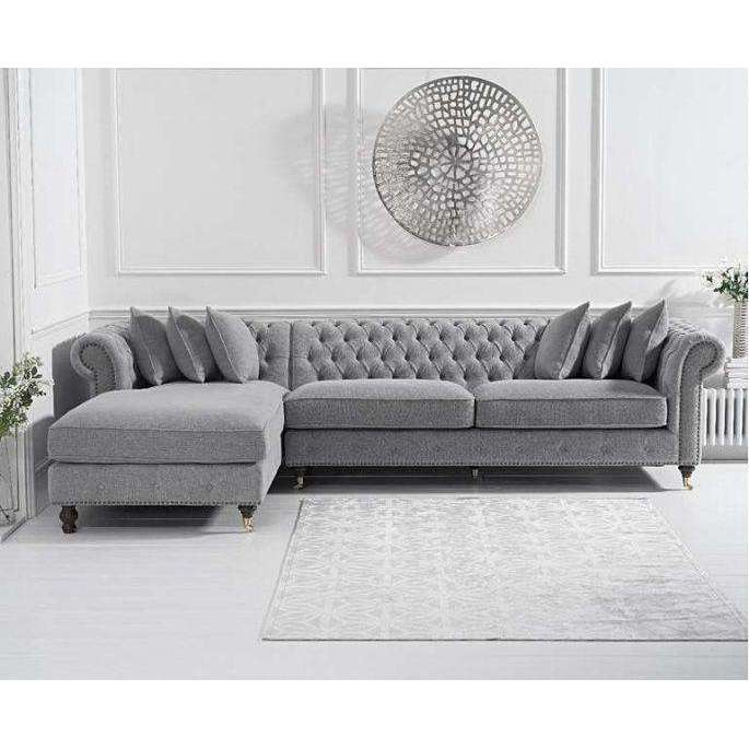 Mark Harris Fiona Grey Linen Left Facing Chaise Sofa