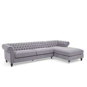 Furnish Our Home:Mark Harris Fiona Grey Linen Right Facing Chaise Sofa