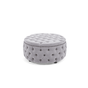 Furnish Our Home:Mark Harris Fiona Grey Linen Round Footstool