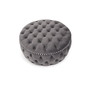 Furnish Our Home:Mark Harris Fiona Grey Velvet Round Footstool