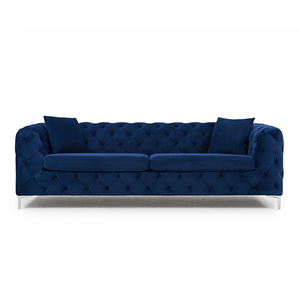 Furnish Our Home:Mark Harris Alegra Blue Plush 3 Seater Sofa