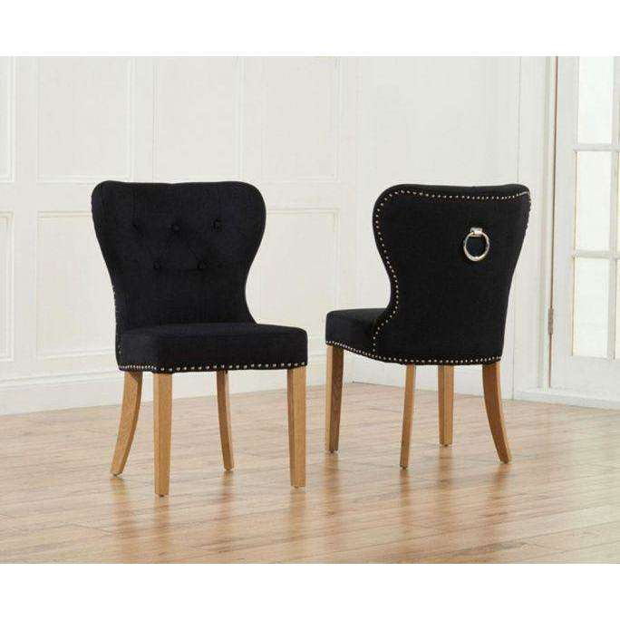 Mark Harris Kalim Black  Solid Oak And Fabric Chairs (Pair)