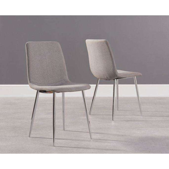 Mark Harris Hatfield Grey Fabric And Chrome Dining Chairs (Pair)