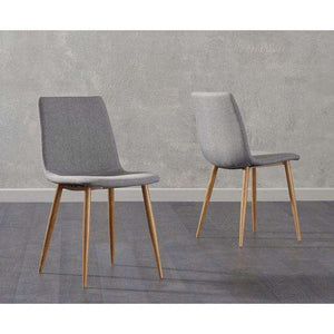Furnish Our Home:Mark Harris Hatfield Grey Fabric Wooden Leg Dining Chairs (Pair)