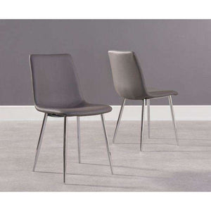 Furnish Our Home:Mark Harris Hatfield Grey Faux Leather And Chrome Dining Chairs (Pair)