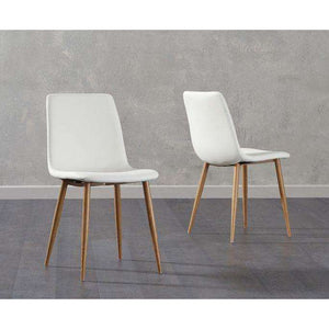 Furnish Our Home:Mark Harris Hatfield White Faux Leather Wooden Leg Dining Chairs (Pair)