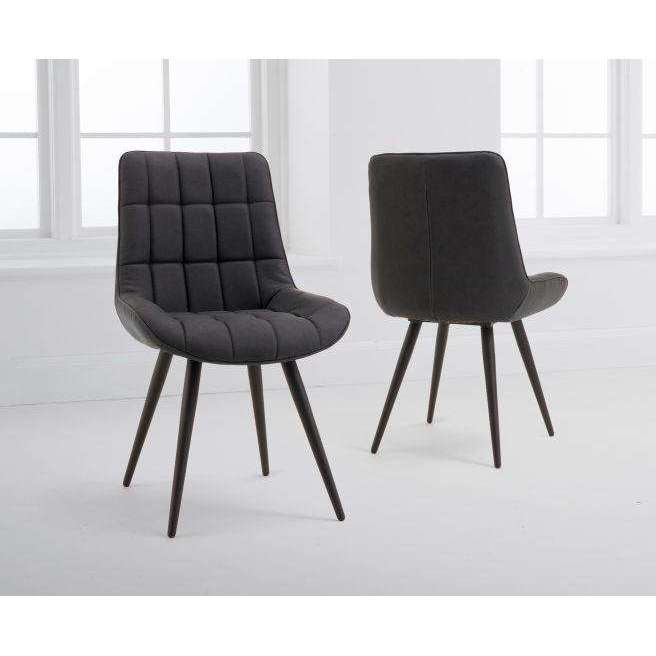Mark Harris Horacio Grey Faux Leather Dining Chairs (Pairs)