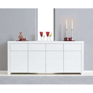 Furnish Our Home:Mark Harris Hereford 4 Door 4 Drawer White High Gloss Sideboard