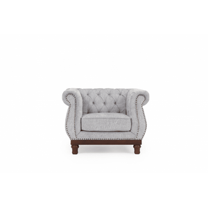 Furnish Our Home:Mark Harris Highgrove Grey Plush Fabric Armchair With Dark Ash Wood Legs