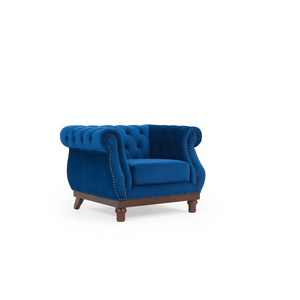 Furnish Our Home:Mark Harris Highgrove Blue Plush Fabric Armchair With Dark Ash Wood Legs