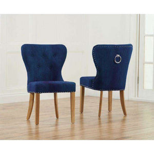 Furnish Our Home:Mark Harris Kalim Blue Plush Fabric & Solid Oak Chairs (Pair)