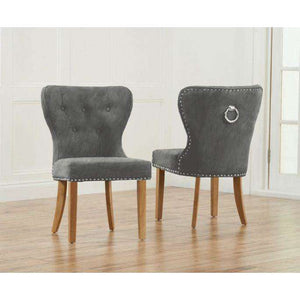 Furnish Our Home:Mark Harris Kalim Grey Plush Fabric & Solid Oak Chairs (Pair)