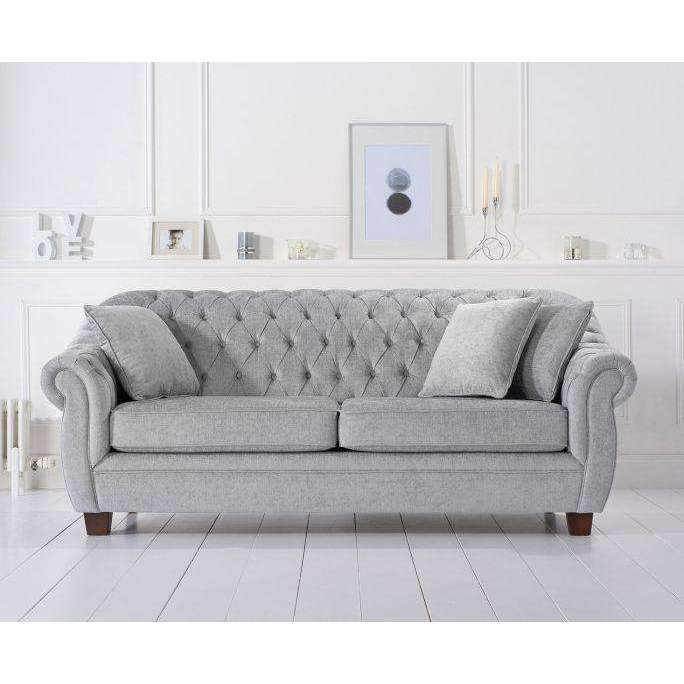 Mark Harris Liv Grey Plush 3 Seater Sofa