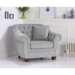 Furnish Our Home:Mark Harris Liv Grey Plush Arm Chair