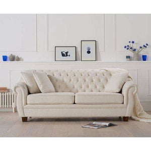 Furnish Our Home:Mark Harris Liv Ivory Linen 3 Seater Sofa