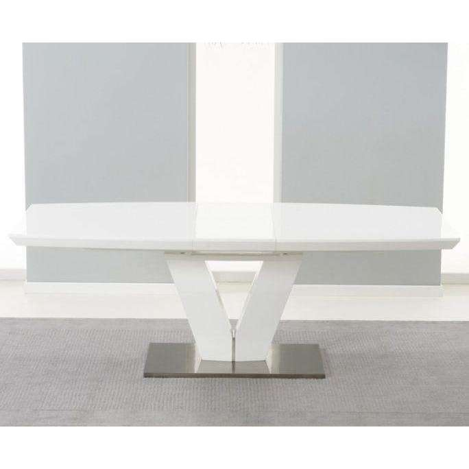 Mark Harris Malibu White High Gloss Extending Dining Table 180-220cm