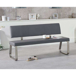 Furnish Our Home:Mark Harris Malibu Large Grey Bench With Back (For 180cm Tables)