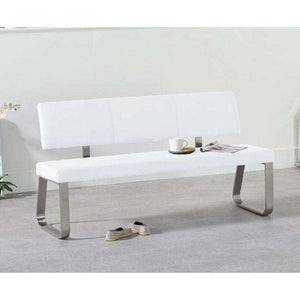 Furnish Our Home:Mark Harris Malibu Large White Bench With Back (For 180cm Tables)