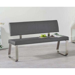 Furnish Our Home:Mark Harris Malibu Medium Grey Bench With Back (For 160cm Tables)