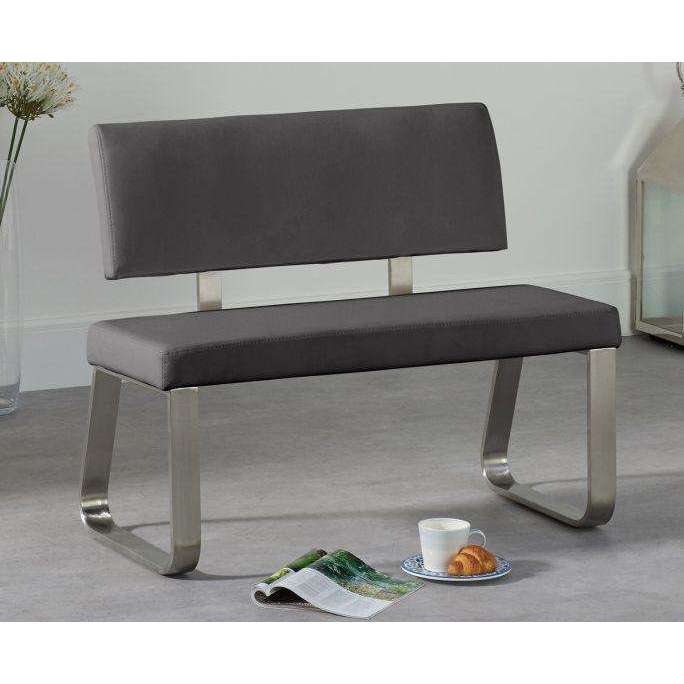 Mark Harris Malibu Small Grey Bench With Back (For 120cm Tables)