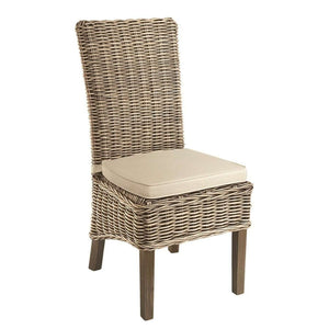 Furnish Our Home:Beco Living Mei Rattan High Back Chair with Stone Cushion Grey (Pair)