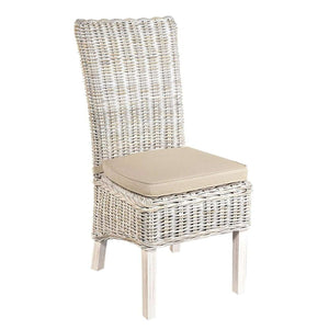 Furnish Our Home:Beco Living Mei Rattan High Back Chair with Stone Cushion White (Pair)