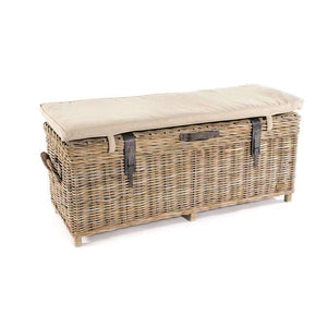 Furnish Our Home:Beco Living Mei Rattan - Grey Wash Storage Bench with Stone Cushion