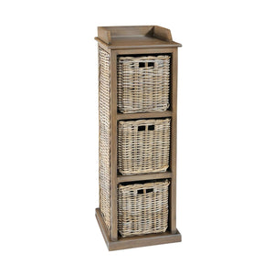 Furnish Our Home:Beco Living Mei Rattan - Grey Wash Tall Storage Unit 3 Baskets High