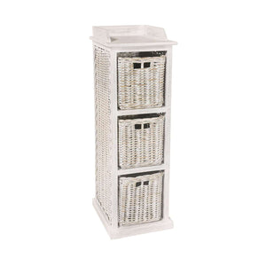 Furnish Our Home:Beco Living Mei Rattan - White Wash Tall Storage Unit 3 Baskets High